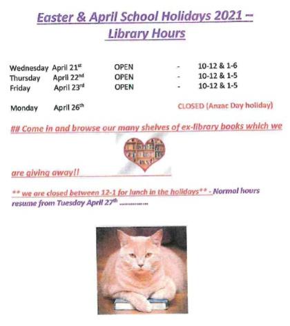 Eudunda School Community Library - April 2021 School Holiday Times pg 2
