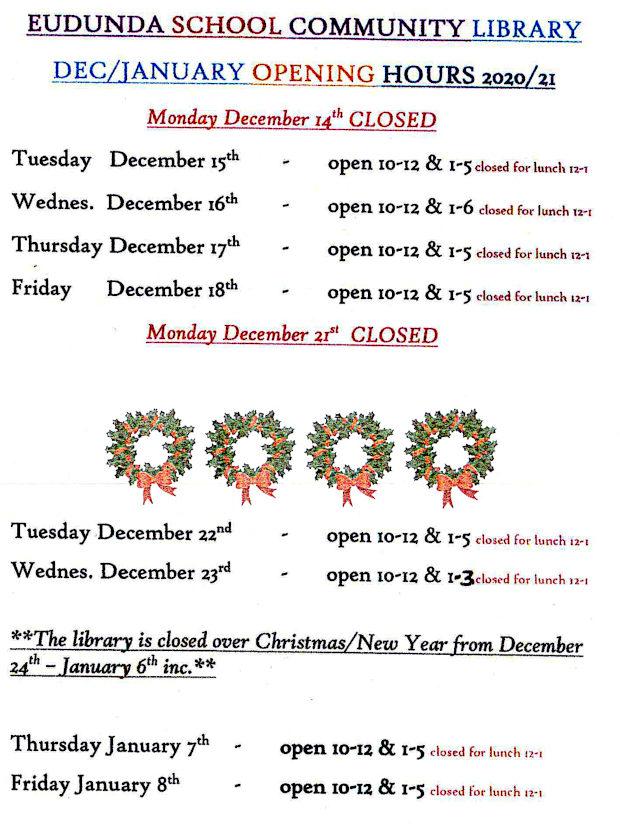 Eudunda School Community Library - Dec 2020 - Jan 2021 School Holiday Times - page 1