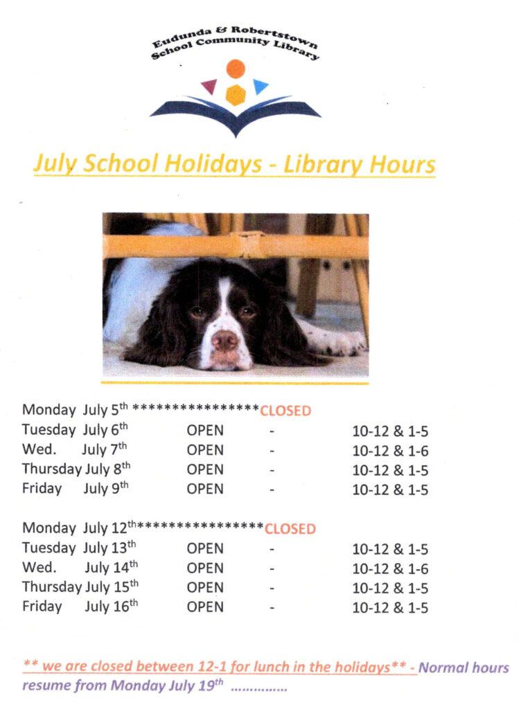 Eudunda School Community Library - July 2021 School Holiday Times