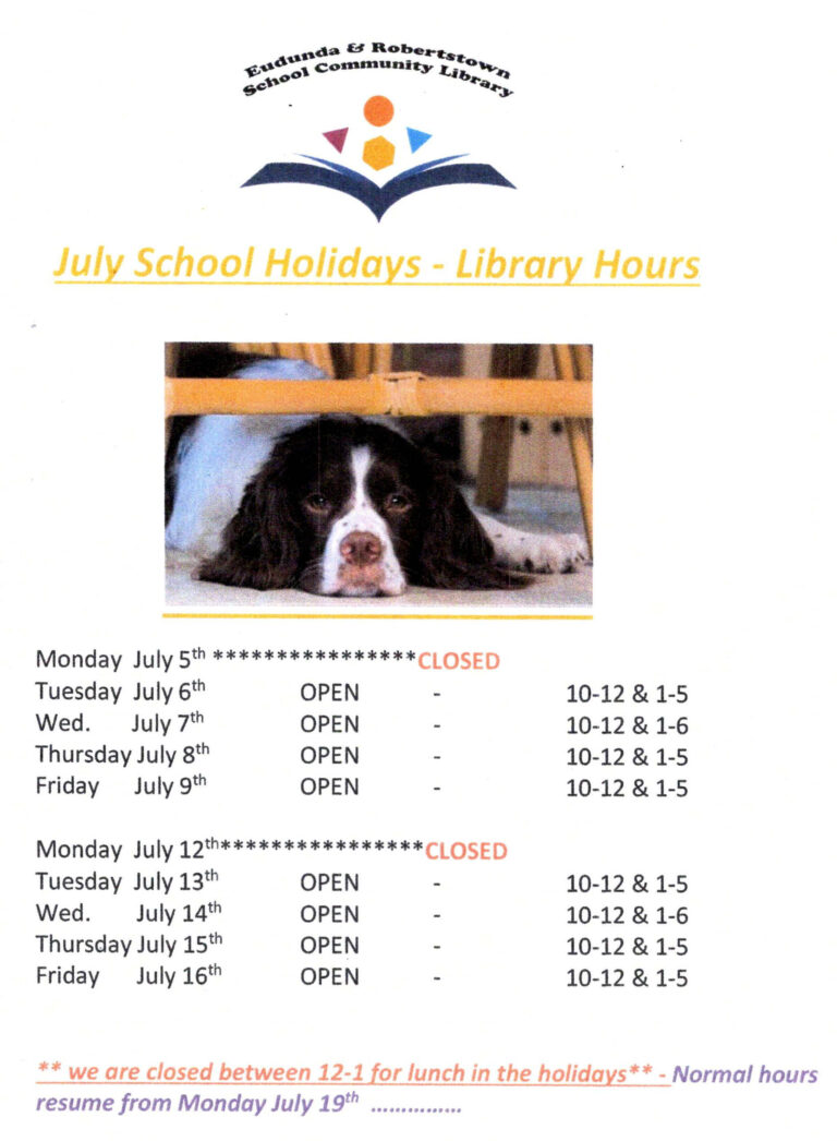 Library Public Times – July School Holidays 2021