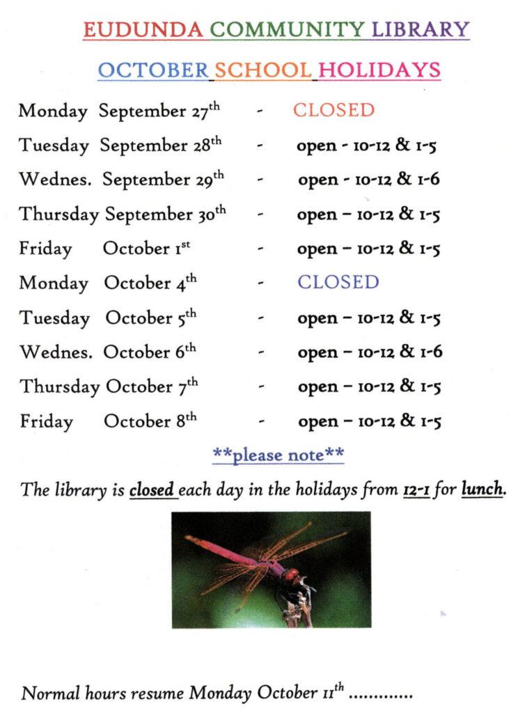 Eudunda School Community Library - October 2021 School Holiday Times
