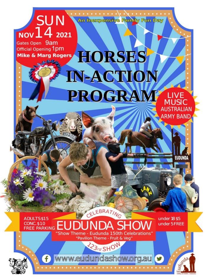 Eudunda Show – 14th Nov 2021 – Show Program & Entry Forms Online, Post Office & Foodland