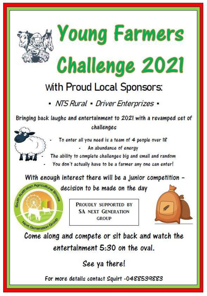 Young Farmers and Juniors – Will You Meet the Challenge at the Eudunda Show – 14th November 2021