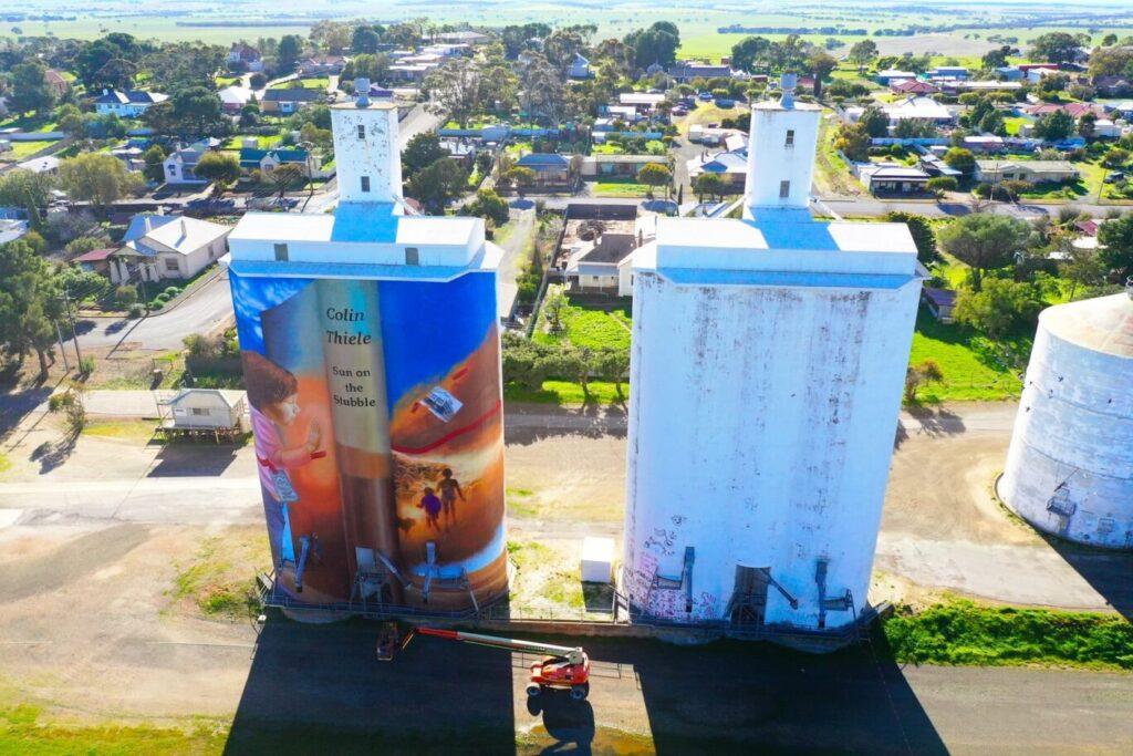 Eudunda Silo Art - Drone View