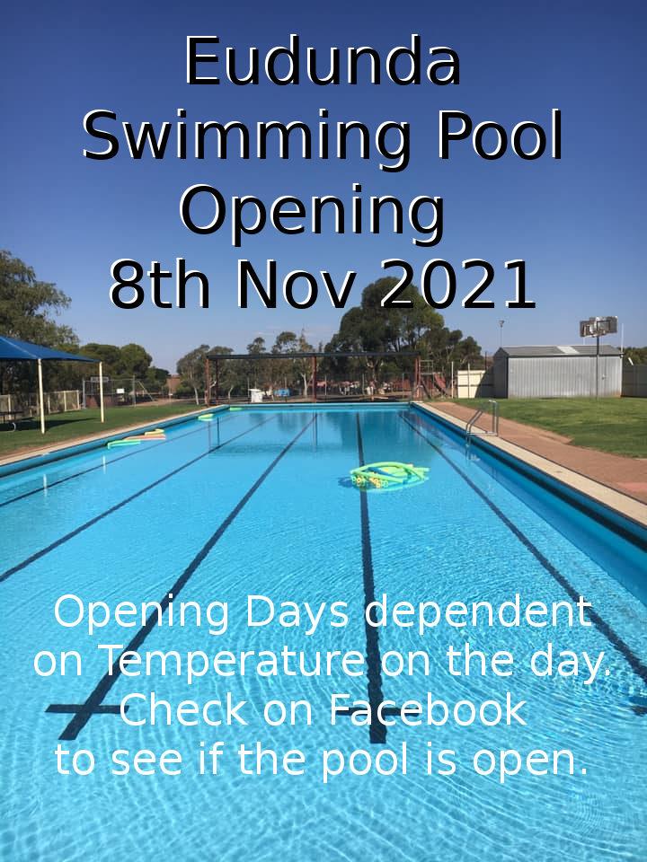 Swimmers – Not Long Now! Swimming Pool Season For Eudunda Starts Mon 8th Nov 2021