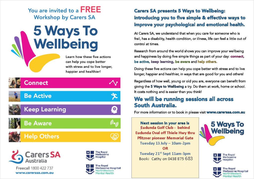 FREE Workshop - 5Ways to WellBeing - 13th July & 21st Sept 2021 Flyer - Eudunda Golf Club