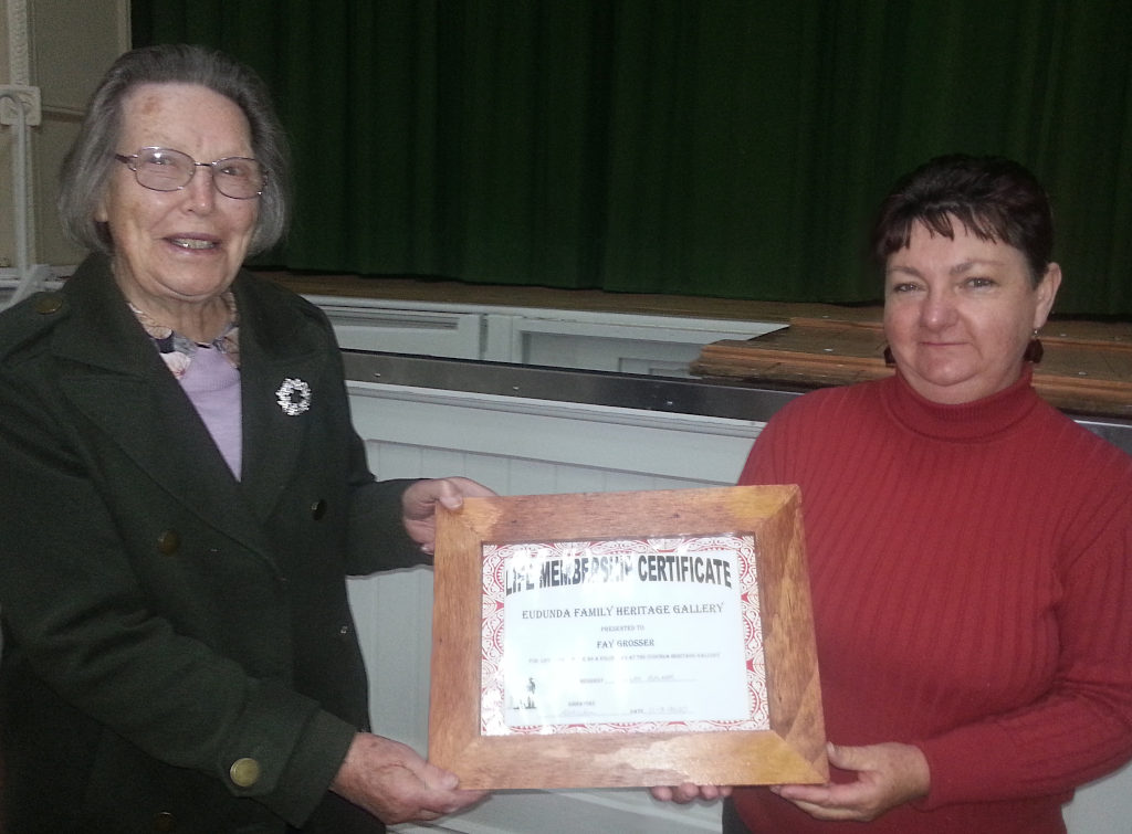 Fay Grosser Life Membership - presented by Delilah Balmer (Chair EFHG)