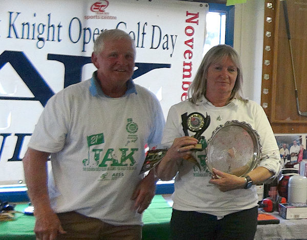 Florence Knight Plate Ladies Winner Deb Bell presented by Bill Knight