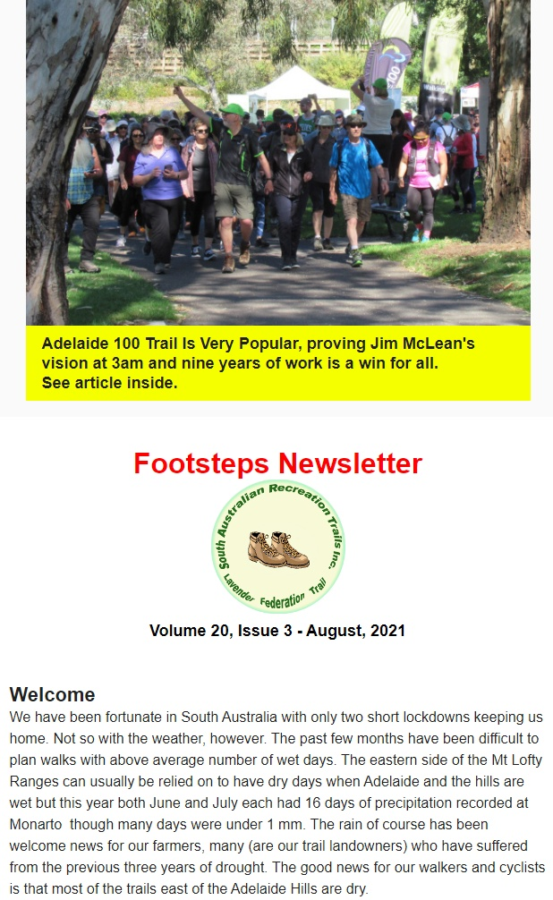 The Latest Footsteps Newsletter Released – Includes Local Trail News