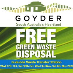 FREE Green Waste Disposal to Reduce Fire Risk – Eudunda Area Wed 27th Oct & 3rd Nov and Sat 30th Oct & 6th Nov.
