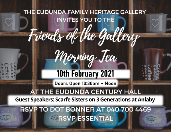 Come Celebrate The Heritage Gallery's Birthday at Morning Tea – 10th Feb 2021
