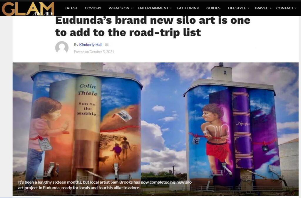 Glam Adelaide article on Completed Eudunda Silo Art