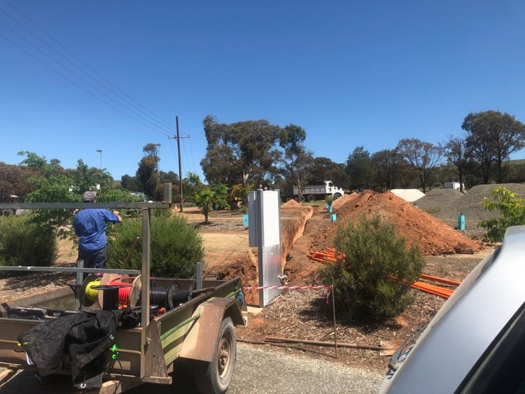 Goyder Electrical laying cables for 4 new Powered Sites at Eudunda Caravan Park - Oct 2020