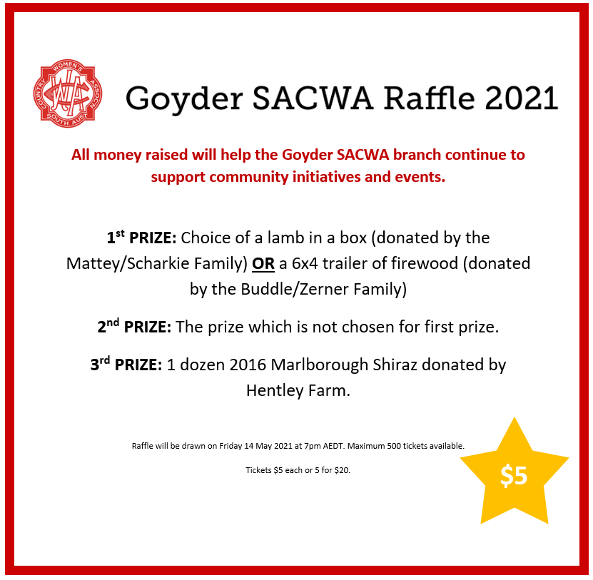 Goyder SACWA Raffle to be Drawn 14th May 2021