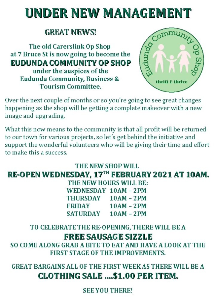 Eudunda Community Op Shop Grand Opening and BBQ - 17th Feb 2021