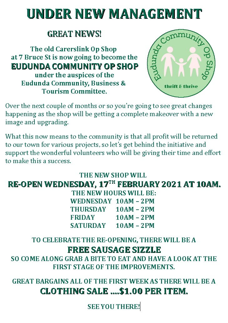 Eudunda Community Op Shop – You Are Welcome To Opening Today 17th Feb 2021 At 10am