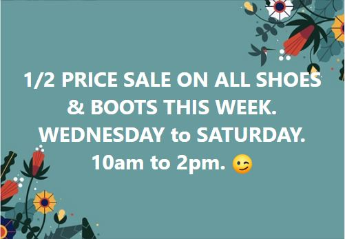 Half Price Sale On All Shoes & Boots This Week At The Eudunda Community Op Shop