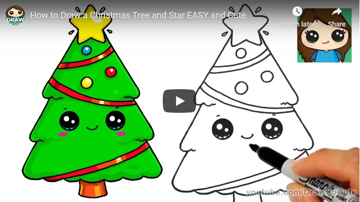 Activity For Your Children – How to Draw a Christmas Tree and Star EASY and Cute