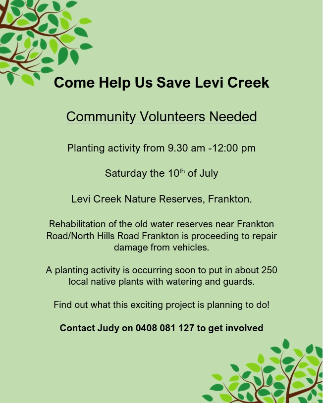 Come Help Us Save Levi Creek – Tree Planting This Sat 10th July 2021