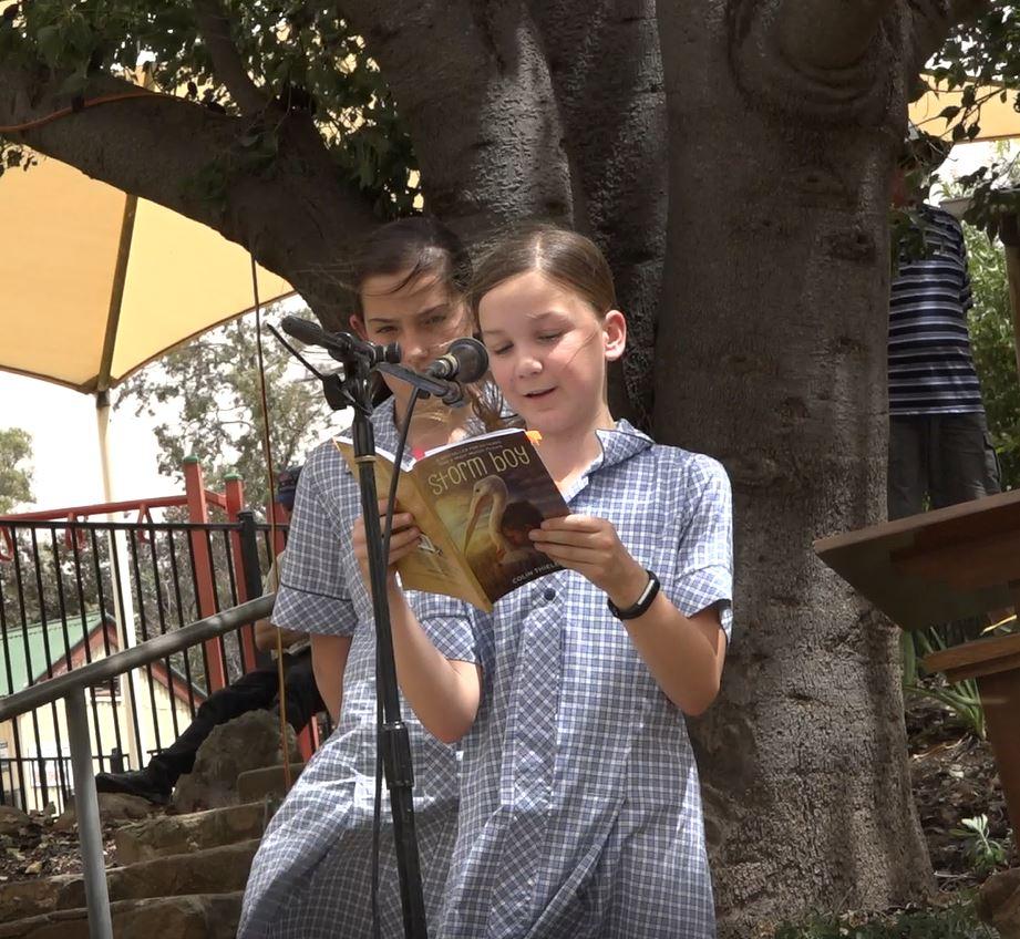 Lucy Mosey reading Storm Boy - photo Peter Herriman
