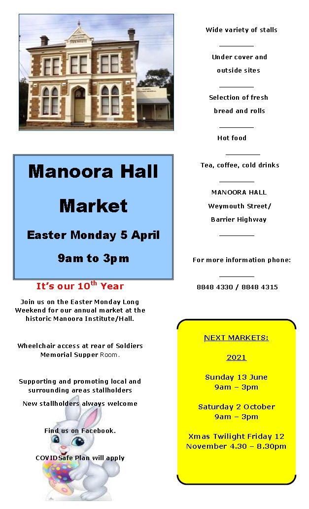 Manoora Hall Easter Monday Market – 5th April 2021
