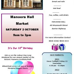 Celebrate with Manoora Hall Market on thier  10th Birthday – Saturday 2nd October 2021