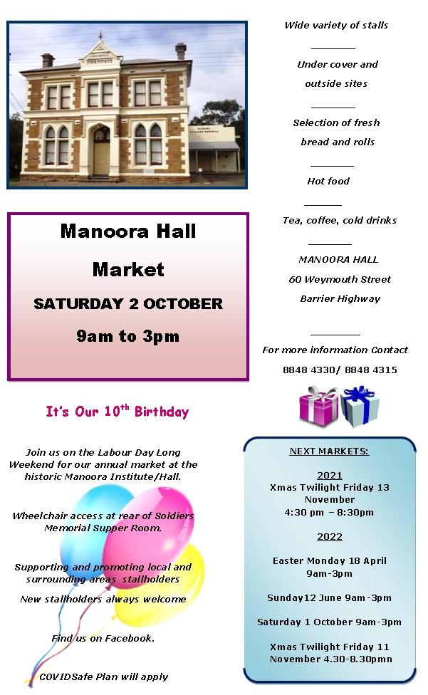 Congratulations on 10th Birthday of Manoora Hall Market – Saturday 2nd October 2021