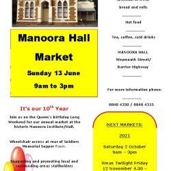 Manoora Hall Market on Sunday 13th June 2021