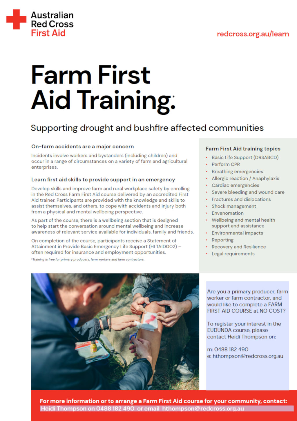Red Cross Farm First Aid Training Available - Announced April 2021