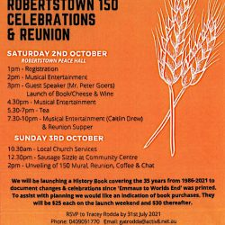 Robertstown Invite You To Celebrate Thier 150th & Reunion – 2nd & 3rd Oct 2021
