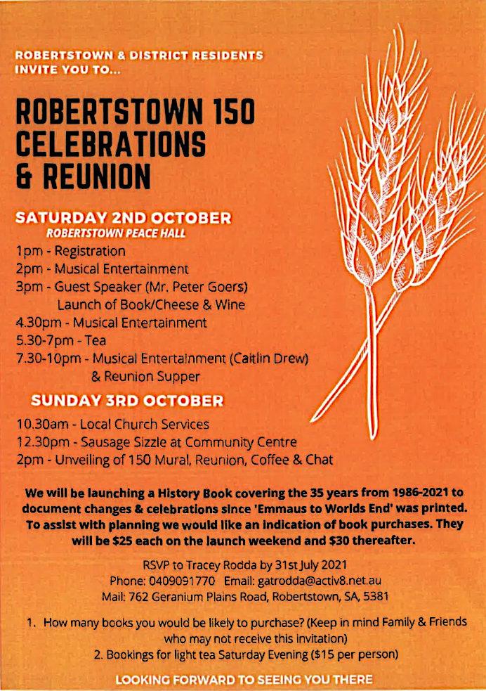 Robertstown 150 Celebrations & Reunion – 2nd & 3rd Oct 2021