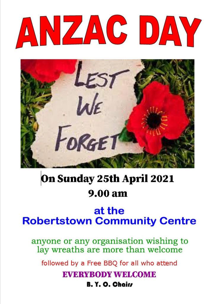 Robertstown ANZAC Service 2021 - poster