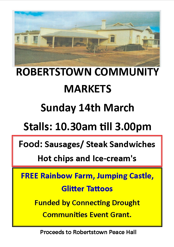 Robertstown Community Markets – Advanced Notice for 14th March 2021