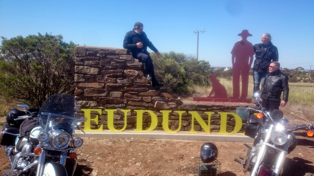 Roderick Eime - Travel Blogger & Motorcycle mates at Gustav & His Dog Entrance to Eudunda