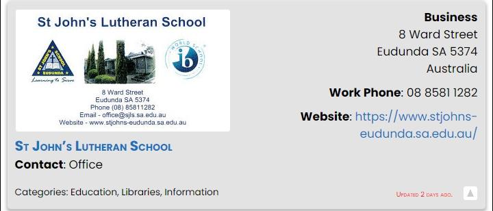 St Johns Lutheran School Eudunda - ECBAT Business Member 2021-2022