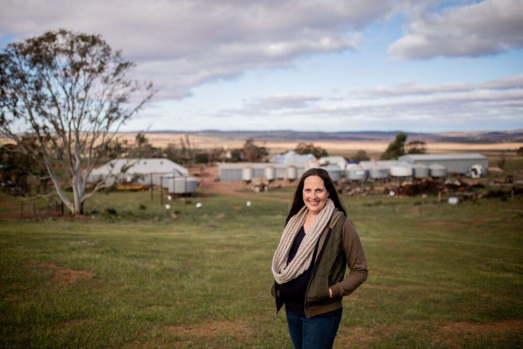 Stephanie Schmidt on the farm - Photo by Alysha Sparks