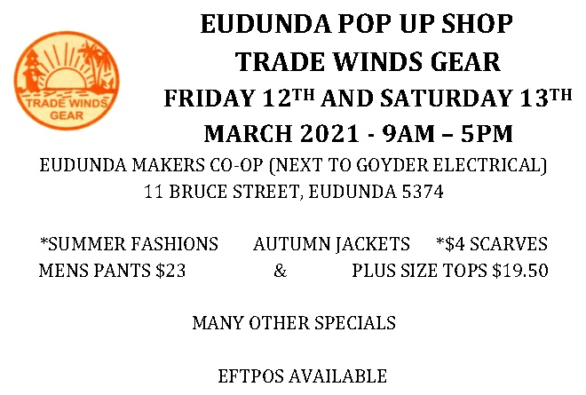 Trade Winds Gear Clothing – Pop Up Shop at Eudunda Fri 12th & Sat 13th March 2021