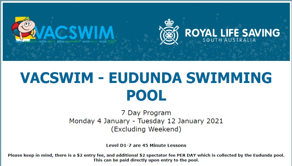 VACSWIM Enrolments Details Open for Eudunda Jan 2021